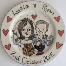 Hand painted wedding plate October 2016