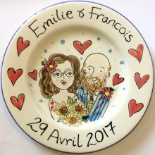 Personalised wedding plate sunflowers and hearts