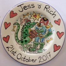 Hand painted Wedding plate October 2017