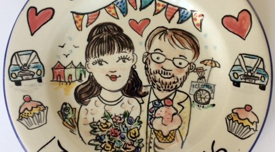 Hand painted Wedding gift plate