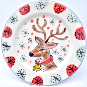 Kate Glanville Reindeer Christmas Plate Gift