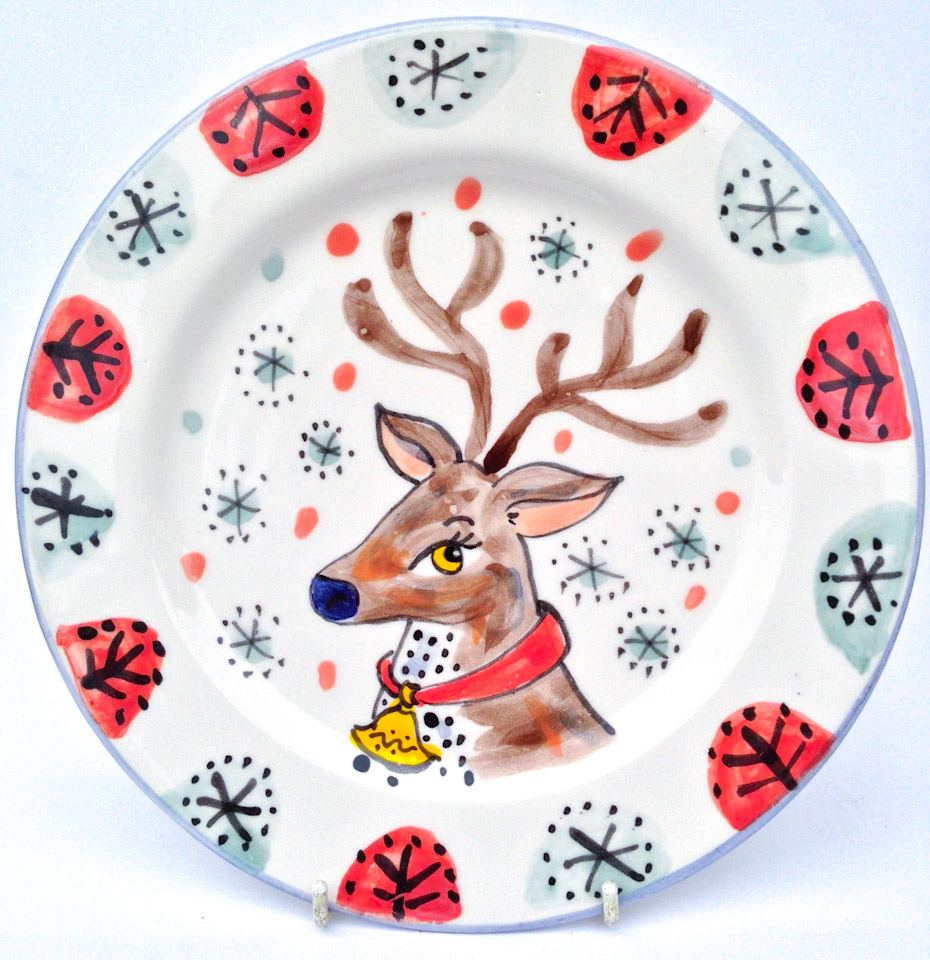 Kate Glanville Reindeer Christmas Plate Gift  sc 1 st  Kate Glanville & Hand painted personalised Christmas plate and mug gifts
