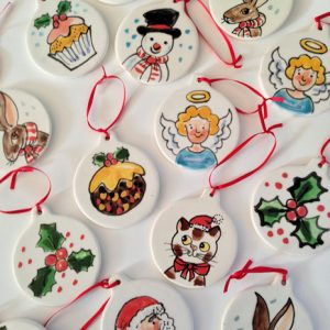 Kate Glanville Christmas Snowman, Holly, Angel, Christmas Pud Decorations