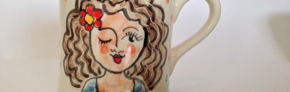 Winking Girl Mug