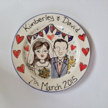 Personalised Wedding Plate Hand painted 2015 K&D