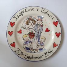 Wedding Plate Hand painted 2014 J&E