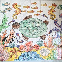 Hand Painted Turtle Tile Mural