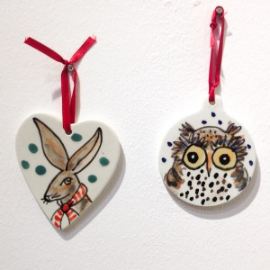 Hare and Owl Christmas Hanging Decoration