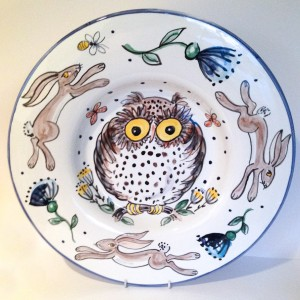 Hand Painted Owl Plate