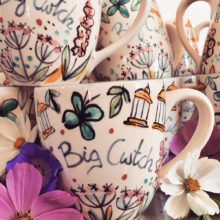 The Big Cwtch, hand painted mugs