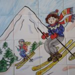 Skiing ladies hand painted tile mural