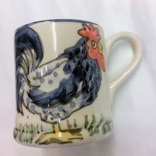 Hand painted blue hen mug