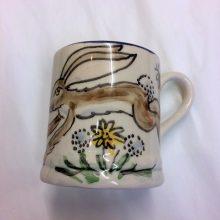 Hand painted hare mug