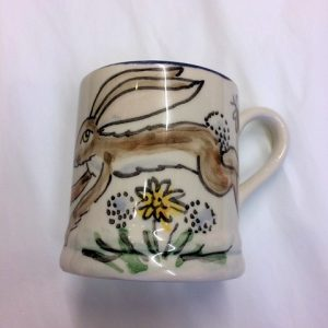 Hand painted hare mug