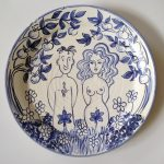 Adam and Eve Blue and White plate