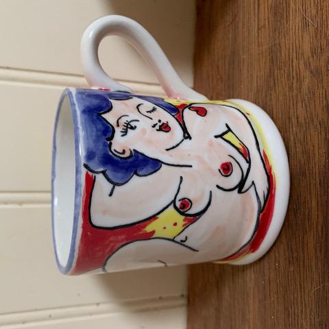 Naked Lady with dark hair Valentine mug