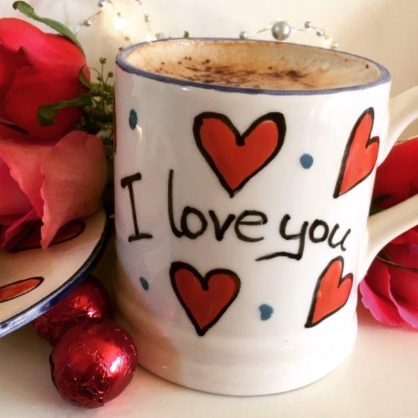 Hand painted Valentin's I Love You Mug
